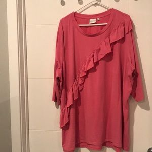 NWOT 3X Junarose Pink Ruffle 3/4 sleeve top